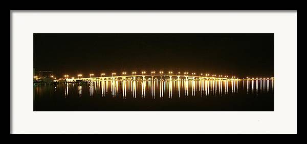 Jensen Beach Causeway Framed Print featuring the photograph Jensen Causeway At Night by Lynda Dawson-Youngclaus