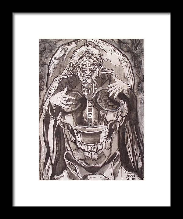 Charcoal Framed Print featuring the drawing Jerry Garcia . . Magic Is What We Do - Music Is How We Do It by Sean Connolly