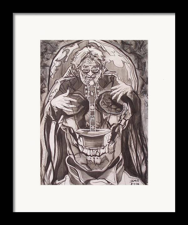 Charcoal; Skull;guitar;music;magic;mystic;wizard;cape;hat;shades;grateful Dead;deadheads Framed Print featuring the drawing Jerry Garcia . . Magic Is What We Do - Music Is How We Do It by Sean Connolly