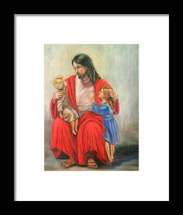 Jesus Framed Print featuring the painting Jesus And The Children by Terry Sita