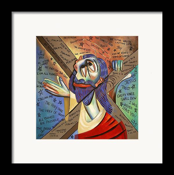 Jesus Framed Print featuring the painting Jesus by Anthony Falbo