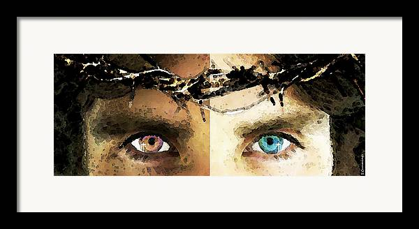 Christian Framed Print featuring the painting Jesus Christ - How Do You See Me by Sharon Cummings