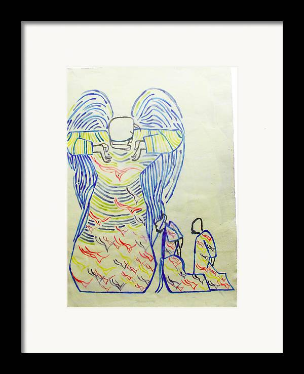 Jesus Framed Print featuring the painting Jesus Guardian Angel by Gloria Ssali
