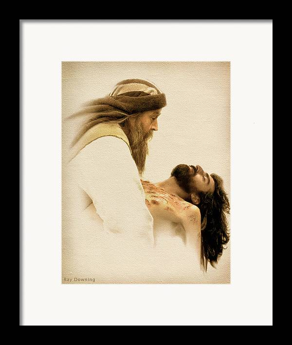Jesus Framed Print featuring the digital art Jesus Laid To Rest by Ray Downing