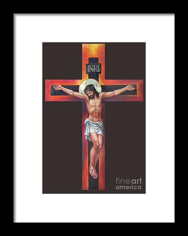 Zorina Baldescu Framed Print featuring the digital art Jesus On The Cross by Zorina Baldescu