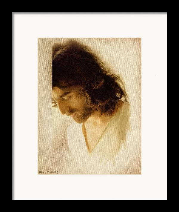 Jesus Framed Print featuring the digital art Jesus Praying by Ray Downing