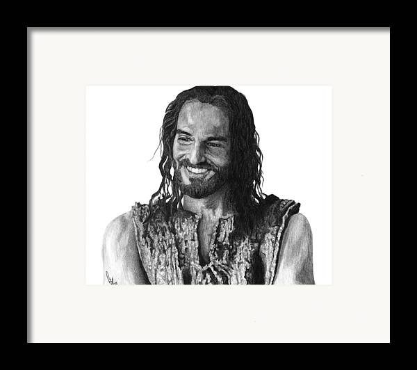 Drawing Framed Print featuring the drawing Jesus Smiling by Bobby Shaw