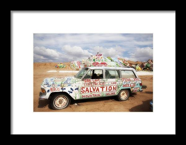Salvation Mountain Framed Print featuring the photograph Jesus Wagon by Hugh Smith