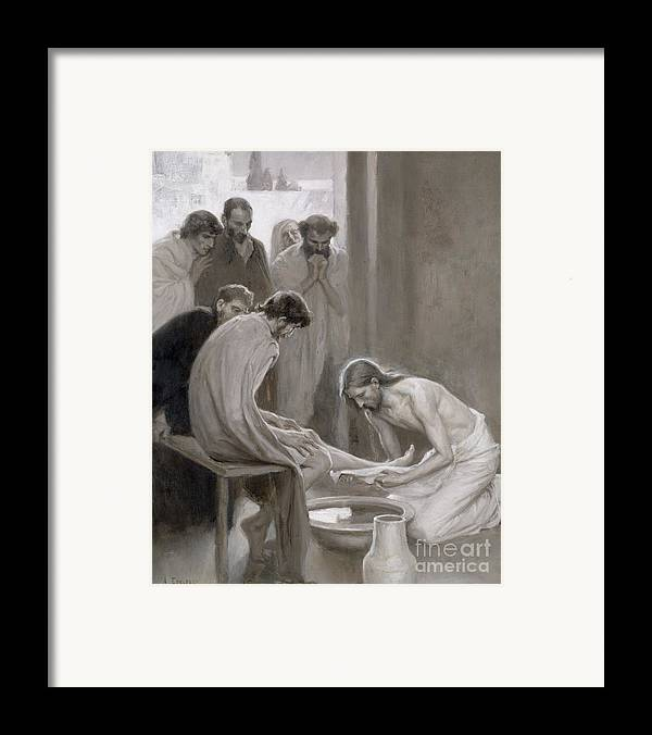 Disciple; Drying; Nordic; Cleaning; Jesus Christ; New Testament; Bible; Biblical Scene Framed Print featuring the painting Jesus Washing The Feet Of His Disciples by Albert Gustaf Aristides Edelfelt