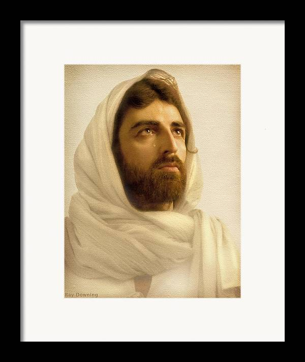 Jesus Framed Print featuring the digital art Jesus Wept by Ray Downing