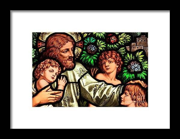 Jesus Framed Print featuring the photograph Jesus With Children by Adam Jewell