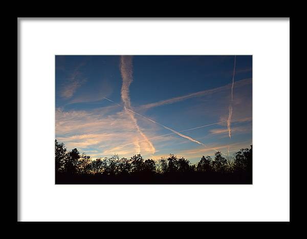 Clouds Framed Print featuring the photograph Jet Art 42 by Lawrence Hess