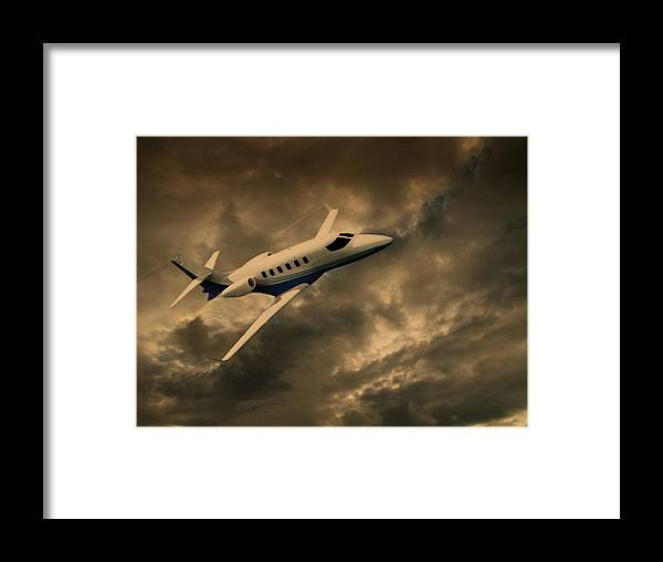 Jet Framed Print featuring the photograph Jet Through The Clouds by David Dehner