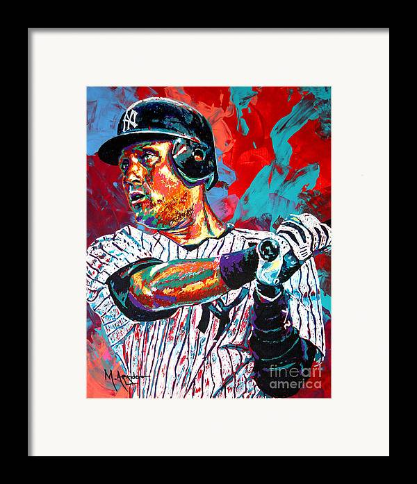 Derek Jeter Framed Print featuring the painting Jeter At Bat by Maria Arango