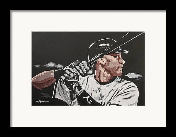 Jeter Framed Print featuring the drawing Jeter by Don Medina