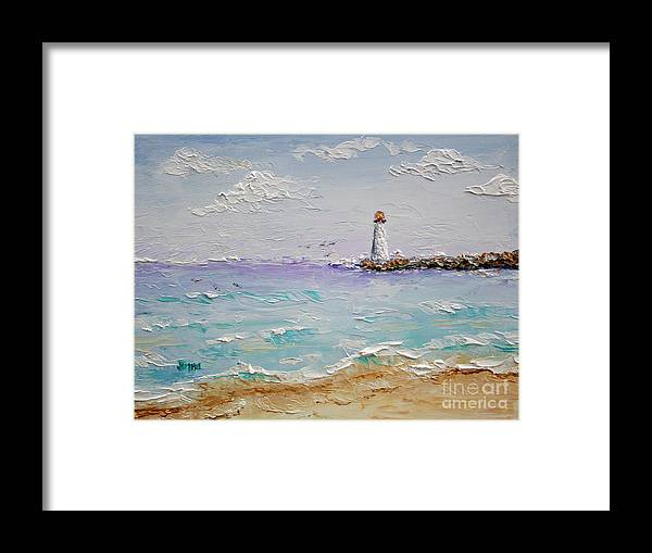 Lighthouse Framed Print featuring the painting Jetty Lighthouse by Jimmie Bartlett