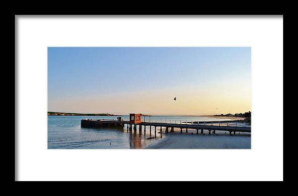 Langebaan Lagoon; Seascape; South Africa; West Coast; Atlantic Ocean; Blue; Background; Decorative; Hills; Water; Sea; Green; Sky; Sunrise; Landscape; Jetty; Framed Print featuring the photograph Jetty.... by Werner Lehmann