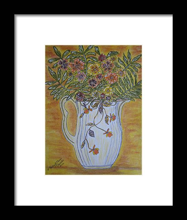 Jewel Tea Framed Print featuring the painting Jewel Tea Pitcher With Marigolds by Kathy Marrs Chandler