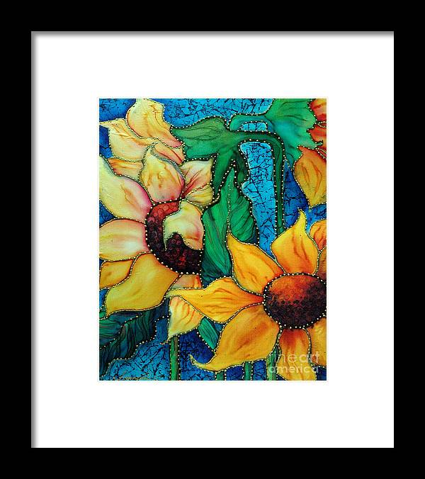 Silk Painting Framed Print featuring the painting Jeweled Sassy Sunflowers by Francine Dufour Jones