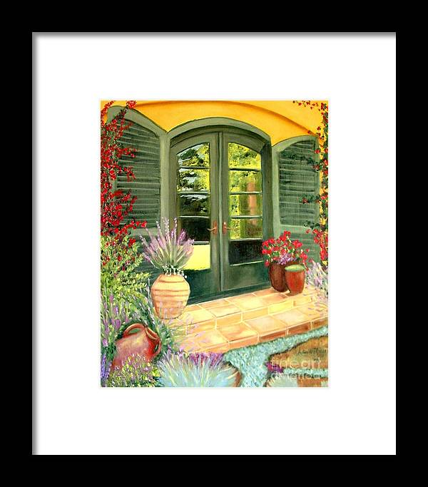 Shutters Framed Print featuring the painting Jill's Patio by Laurie Morgan