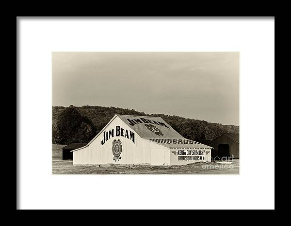 Sepia Framed Print featuring the photograph Jim Beam - D008291-bw by Daniel Dempster