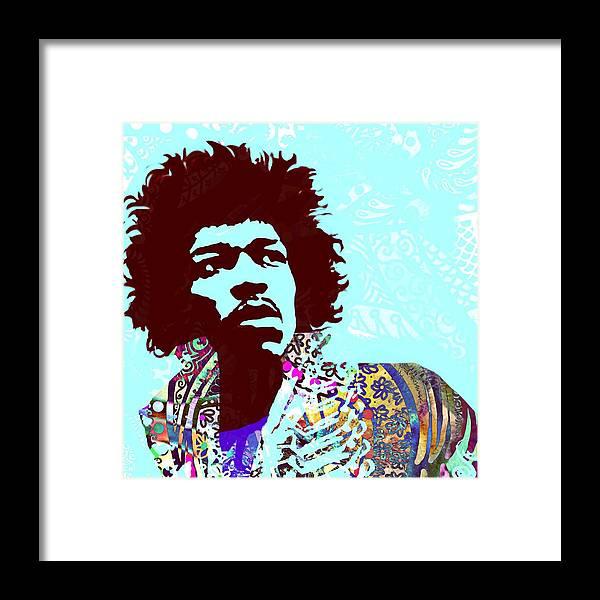Jimi Framed Print featuring the digital art Jimi by Cindy Edwards