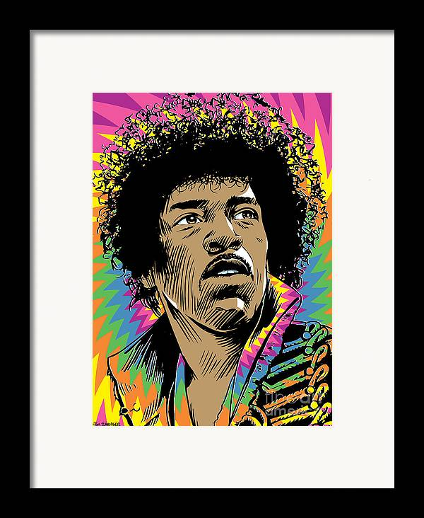 Art Framed Print featuring the digital art Jimi Hendrix Pop Art by Jim Zahniser