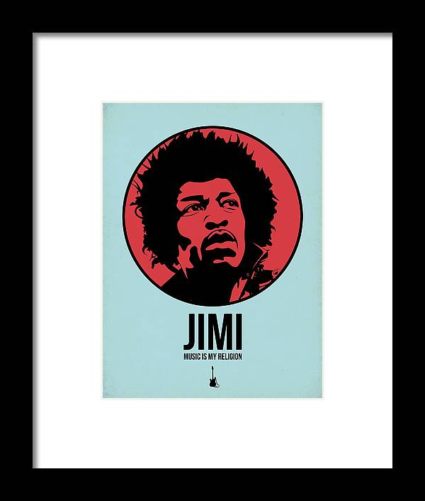 Music Framed Print featuring the digital art Jimi Poster 2 by Naxart Studio