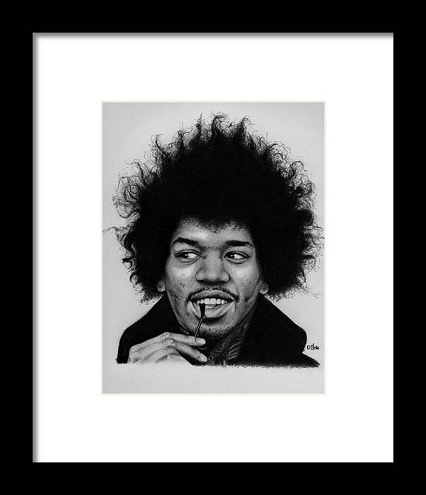 Graphite Drawing Framed Print featuring the drawing Jimi by Thodoris Stratigos