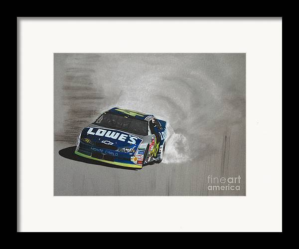 Car Framed Print featuring the drawing Jimmie Johnson-victory Burnout by Paul Kuras