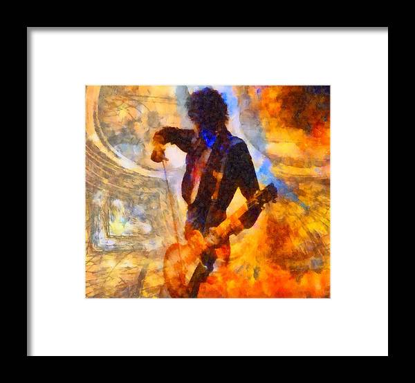 Jimmy Page Framed Print featuring the painting Jimmy Page Playing Guitar With Bow by Dan Sproul