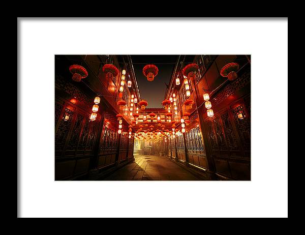 Chinese Culture Framed Print featuring the photograph Jinli Street, Chengdu, Sichuan, China by Kiszon Pascal