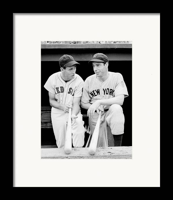 Joe Framed Print featuring the photograph Joe Dimaggio And Ted Williams by Gianfranco Weiss
