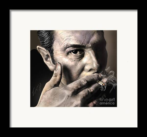 The Clash Framed Print featuring the painting Joe Strummer-burning Lights by Reggie Duffie