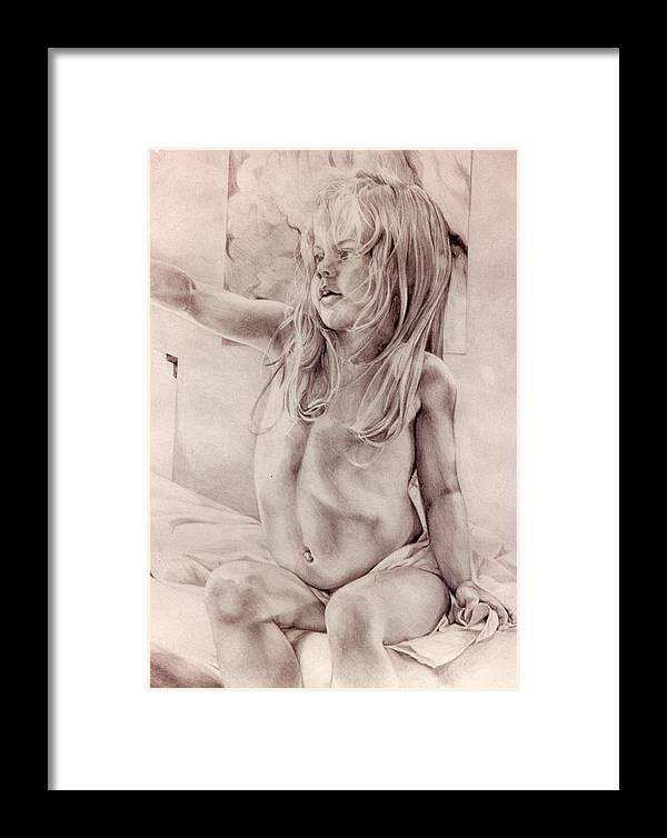 Portrait Framed Print featuring the drawing Joey by Julie Orsini Shakher