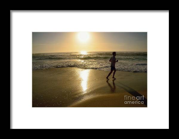 Photography Framed Print featuring the photograph Jogging At Sunrise By Kaye Menner by Kaye Menner