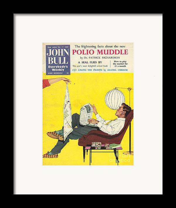 1950�s Framed Print featuring the drawing John Bull 1950s Uk Dish Washing by The Advertising Archives