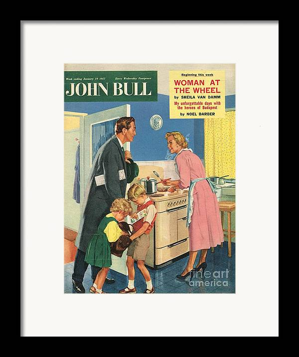 1950�s Framed Print featuring the drawing John Bull 1957 1950s Uk Cooking by The Advertising Archives