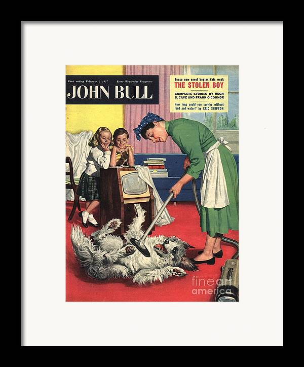1950�s Framed Print featuring the drawing John Bull 1957 1950s Uk Dogs Cleaning by The Advertising Archives