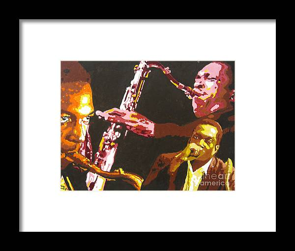 Jazz Framed Print featuring the painting John Coltrane A Love Supreme by Ronald Young
