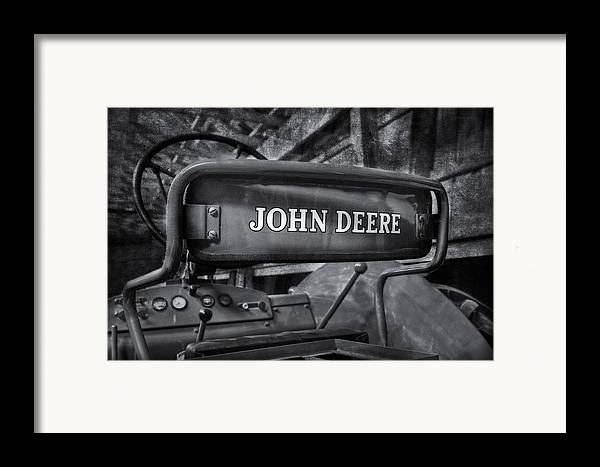Diesel Framed Print featuring the photograph John Deere Tractor Bw by Susan Candelario