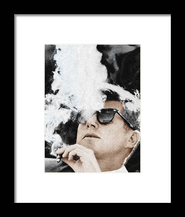 President Framed Print featuring the painting John F Kennedy Cigar and Sunglasses by Tony Rubino