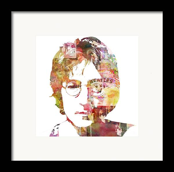 Beatles Framed Print featuring the painting John Lennon by Mike Maher