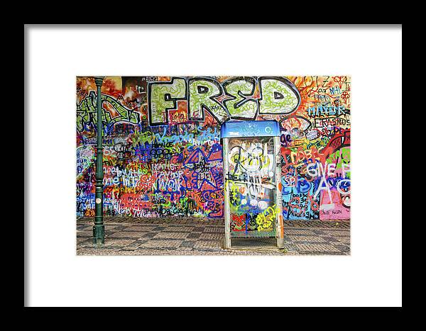 John Lennon Wall In Prague With Colorful Graffiti Framed Print by ...
