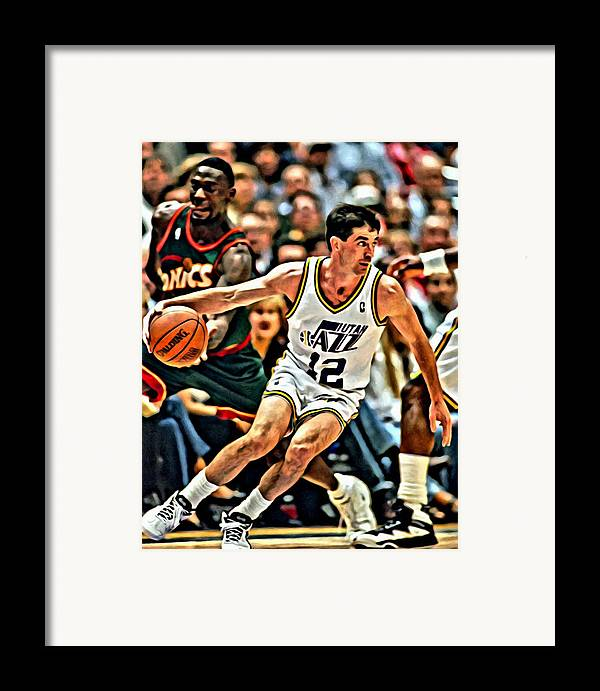 Nba Framed Print featuring the painting John Stockton by Florian Rodarte