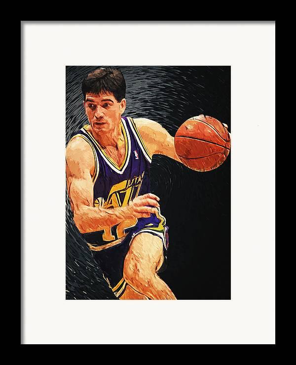 John Stockton Framed Print featuring the digital art John Stockton by Taylan Apukovska