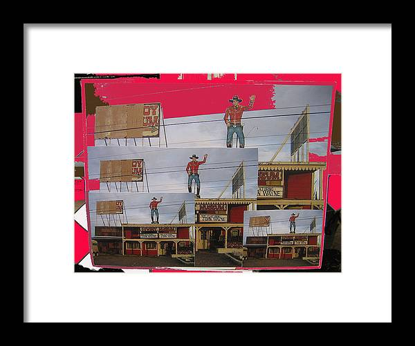 John Wayne Collage Cowboy Museum Tombstone Arizona 2004 Color Added Framed Print featuring the photograph John Wayne Collage Cowboy Museum Tombstone Arizona 2004 by David Lee Guss