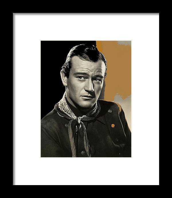 John Wayne Publicity Photo In Costume Stagecoach Color Added James Cagney John Ford Framed Print featuring the photograph John Wayne Publicity Photo In Costume Stagecoach 1939-2009 by David Lee Guss