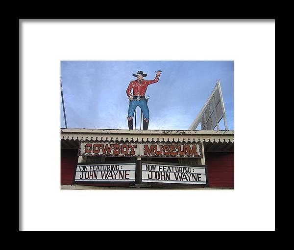 John Wayne Shuttered Cowboy Museum Close-up Tombstone Arizona 2004 Framed Print featuring the photograph John Wayne Shuttered Cowboy Museum Close-up Tombstone Arizona 2004 by David Lee Guss