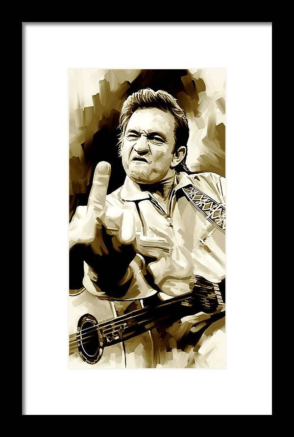 Johnny Cash Artwork 2 Framed Print by Sheraz A